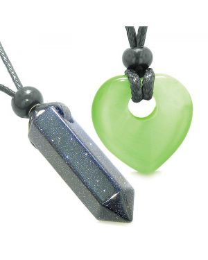Yin Yang Crystal Point Heart Donut Love Couple Goldstone Green Simulated Cats Eye Amulet Necklaces