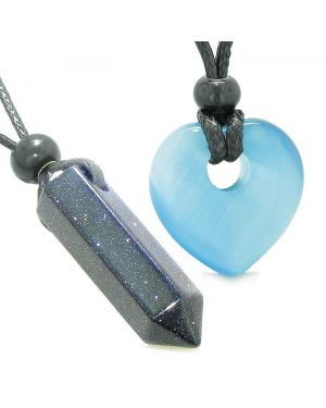Yin Yang Crystal Point Heart Donut Love Couple Goldstone Blue Simulated Cats Eye Amulet Necklaces
