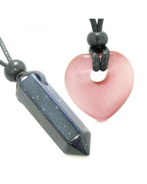 Yin Yang Crystal Point Heart Donut Love Couple Goldstone Pink Simulated Cats Eye Amulet Necklaces