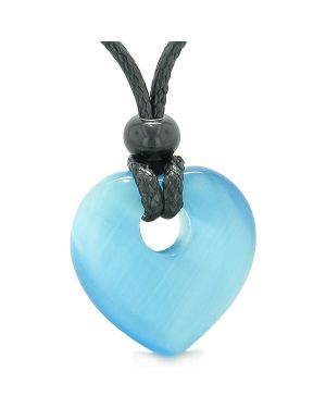 Amulet Lucky Heart Donut Shaped Charm Sky Blue Simulated Cats Eye Pendant Magic Powers Necklace