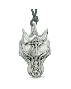 Courage Wise Wolf Celtic Viking Cross Energy Charm Amulet Magical Brave Power Pendant Necklace