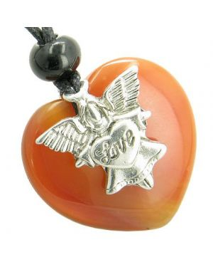 Guardian Spirit Angel Love Heart Amulet Evil Eye Protection Carnelian Gemstone Pendant Necklace