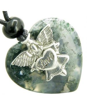 Guardian Spirit Angel Love Heart Good Luck Amulet Green Moss Agate Gemstone Pendant Necklace