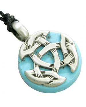Amulet Celtic Triquetra Knot Good Luck Turquoise Gemstone Tablet Pendant Necklace