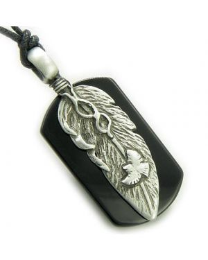 Amulet Spiritual Protection Eagle Lucky Feather Tag Black Onyx Pendant Necklace