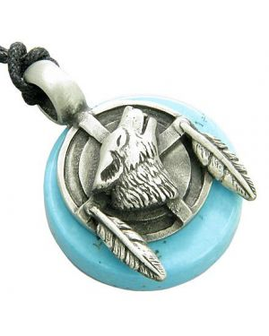 Amulet Wolf Feathers Circle Good Luck Turquoise Gemstone Tablet Pendant Necklace