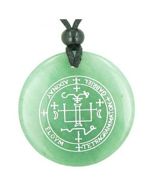 Sigil of the Archangel Gabriel Magical Amulet Green Aventurine Spiritual Powers Pendant Necklace