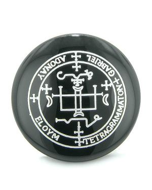 Sigil of the Archangel Gabriel Magical Amulet Onyx Magic Circle Spiritual Powers Keepsake Totem