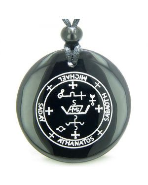 Sigil of the Archangel Michael Magical Amulet Black Onyx Magic Spiritual Powers Pendant Necklace