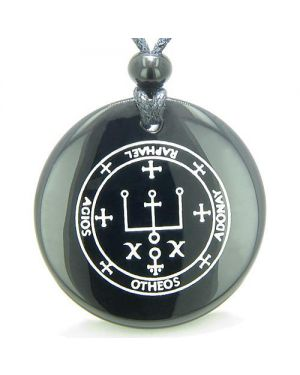 Sigil of the Archangel Raphael Magical Amulet Black Onyx Magic Circle Spiritual Pendant Necklace
