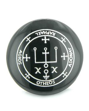 Sigil of the Archangel Raphael Magical Amulet Black Onyx Magic Circle Spiritual Keepsake Totem