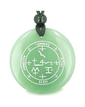 Sigil of the Archangel Samael Magical Amulet Green Aventurine Magic Spiritual Pendant Necklace