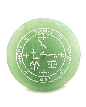 Sigil of the Archangel Samael Magical Amulet Green Aventurine Magic Circle Spiritual Keepsake Totem