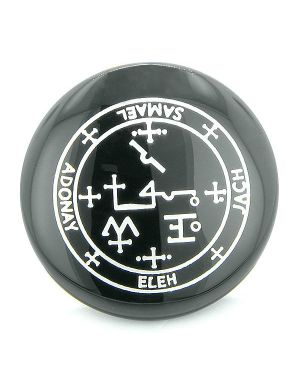 Sigil of the Archangel Samael Magical Amulet Black Onyx Magic Circle Spiritual Power Keepsake Totem