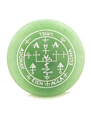 Sigil of the Archangel Uriel Magical Amulet Green Aventurine Magic Circle Spiritual Keepsake Totem