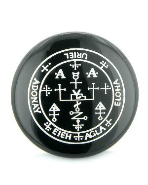 Sigil of the Archangel Uriel Magical Amulet Black Onyx Magic Circle Spiritual Powers Keepsake Totem