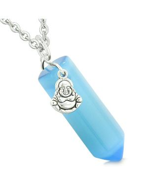 Happy Laughing Buddha Magic Amulet Crystal Point Pendant Sky Blue Simulated Cats Eye Necklace