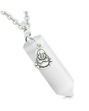 Happy Laughing Buddha Magic Powers Amulet Crystal Point Pendant White Simulated Cats Eye Necklace