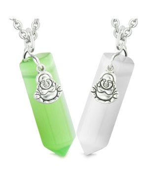 Happy Buddha Love Couple Best Friends Crystal Point Amulets White Green Simulated Cat Eye Necklaces
