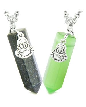 Happy Buddha Love Couples Best Friends Crystal Points Goldstone Green Simulated Cats Eye Necklaces