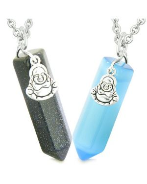 Happy Buddha Love Couples Best Friends Crystal Points Goldstone Blue Simulated Cats Eye Necklaces