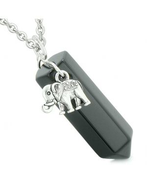 Lucky Elephant Charm Magic Powers Amulet Crystal Point Pendant Black Agate 18 Inch Necklace