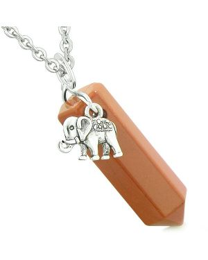Lucky Elephant Charm Magic Powers Amulet Crystal Point Pendant Red Jasper 22 Inch Necklace