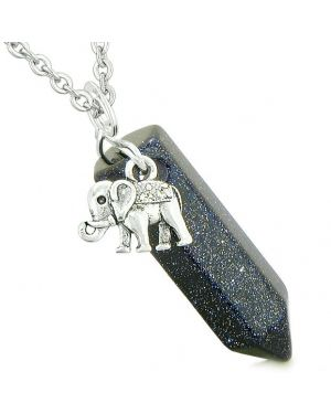 Lucky Elephant Charm Magic Powers Amulet Crystal Point Pendant Blue Goldstone 18 Inch Necklace