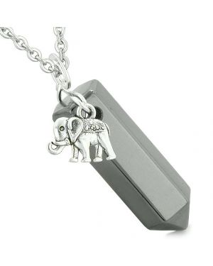 Lucky Elephant Charm Magic Powers Amulet Crystal Point Pendant Hematite 22 Inch Necklace
