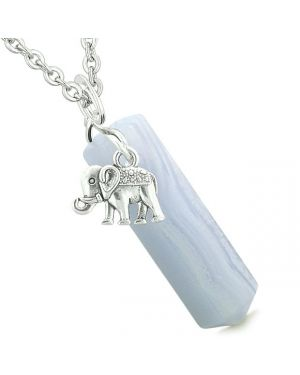 Lucky Elephant Charm Magic Powers Amulet Crystal Point Pendant Blue Lace Agate 22 Inch Necklace