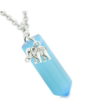 Lucky Elephant Charm Magic Amulet Crystal Point Pendant Sky Blue Simulated Cats Eye Necklace