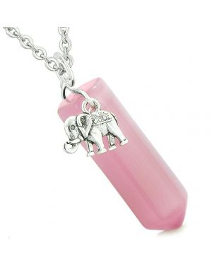 Lucky Elephant Charm Magic Powers Amulet Crystal Point Pendant Pink Simulated Cats Eye Necklace