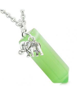 Lucky Elephant Charm Magic Amulet Crystal Point Pendant Green Simulated Cats Eye Necklace
