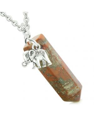 Lucky Elephant Charm Magic Powers Amulet Crystal Point Pendant Dragon Blood Jasper 22 Inch Necklace