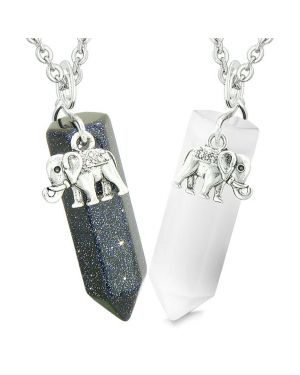 Lucky Elephant Love Couples Best Friends Crystal Points Goldstone White Simulated Cat Eye Necklaces