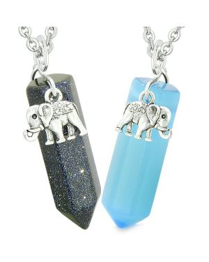 Lucky Elephant Love Couple Best Friends Crystal Points Goldstone Blue Simulated Cats Eye Necklaces