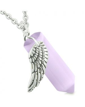 Amulet Angel Wing Magic Energy Crystal Point Purple Simulated Cats Eye Pendant Necklace
