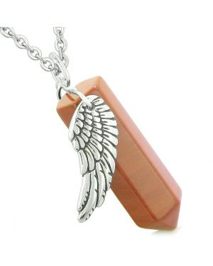 Amulet Angel Wing Magic Energy Wand Crystal Point Red Jasper Crystal Pendant 22 Inch Necklace