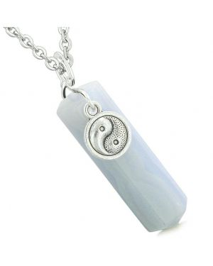 Yin Yang Balance Powers Magic Amulet Crystal Point Pendant Blue Lace Agate 22 Inch Necklace