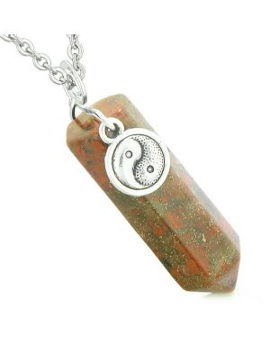 Yin Yang Balance Powers Magic Amulet Crystal Point Pendant Dragon Blood Jasper 18 Inch Necklace