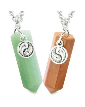 Lucky Yin Yang Amulets Love Couples Best Friends Crystal Points Green Quartz Red Jasper Necklaces