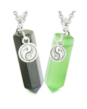 Yin Yang Amulet Love Couples Best Friend Crystal Point Goldstone Green Simulated Cats Eye Necklaces