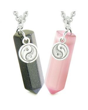 Yin Yang Amulets Couples Best Friends Crystal Points Goldstone Pink Simulated Cats Eye Necklaces
