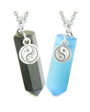 Yin Yang Amulets Couples Best Friends Crystal Points Goldstone Blue Simulated Cats Eye Necklaces
