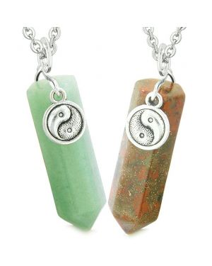 Lucky Yin Yang Amulet Couples Best Friend Crystal Points Green Quartz Dragon Blood Jasper Necklaces