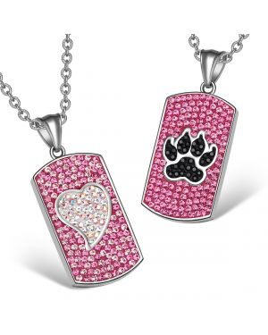 Heart Wolf Paw Austrian Crystal Love Couples Best Friends Dog Tag Fuscia Pink Black White Necklaces