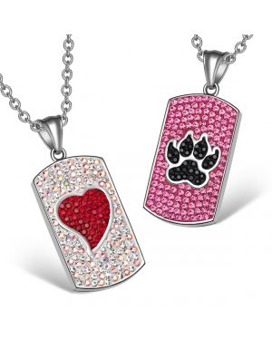 Heart Wolf Paw Austrian Crystal Love Couples Best Friends Dog Tag Red White Pink Black Necklaces