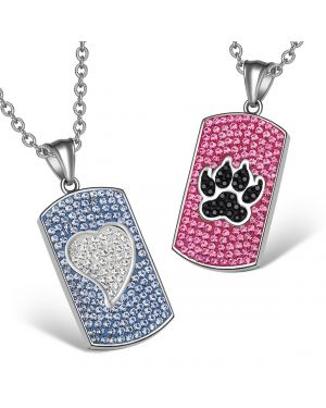 Heart Wolf Paw Austrian Crystal Love Couples Best Friends Dog Tag White Black Pink Blue Necklaces
