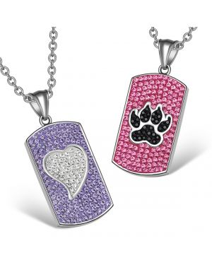 Heart Wolf Paw Austrian Crystal Love Couples Best Friends Dog Tag White Black Pink Purple Necklaces