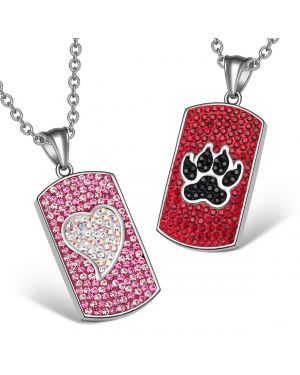 Heart Wolf Paw Austrian Crystal Love Couples Best Friends Dog Tag Cherry Red Black Pink Necklaces